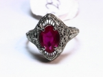 Red Stone in 14kt. White Gold Ring