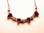 Three-way Amethyst and Diamond Necklace in 14kt. White Gold