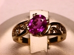 Pink Sapphire and Diamond Ring in 14kt. Yellow Gold