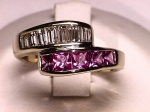 Pink Sapphire and Diamond Bypass Ring in 14kt. Yellow Gold