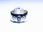 Blue & White Diamond in 14kt. White Gold Ring