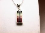 Watermelon Tourmaline in .925 Sterling Silver Pendant with Chain